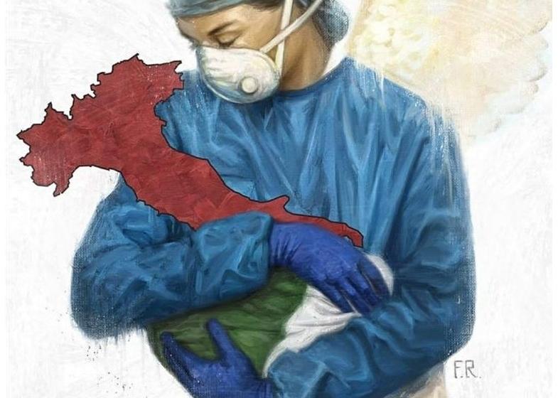 dottoressa che abbraccia l'italia ammalata di coronavirus